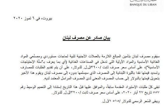 مصرف لبنان يدخل على خط استيراد المواد الأولية الغذائية... اليكم التفاصيل